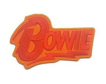 1pc Large David Bowie Red Embroidered Applique Patch. Iron On or Sew On Music Legend Fan Badge for T-shirts, Jeans, Shirts. 9.3cm wide