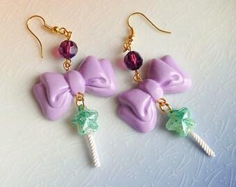 Magical Star Wand Earrings - Kawaii, Bow, Sweet Lolita Fairy Kei, Pastel, Polymer Clay, Fairy Kei