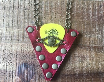 Guitar Pick Holder Necklace - Red Leather - Guitar Accessories - Leather Jewelry