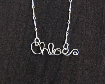 Personalized Name Necklace,  Custom Wire Word Jewelry, Silver Name Pendant