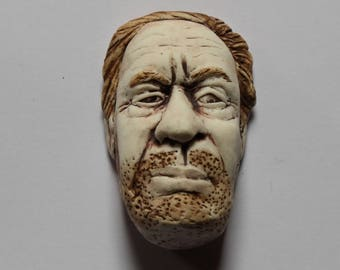 Small OOAK Ceramic Wall Hanging of a Man's Face