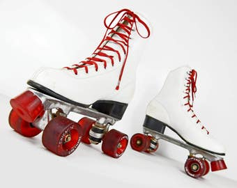 Roller Skates, Chicago, Womens, 8, white, leather, red wheels and stopper, Chicago Roller Skate Co.