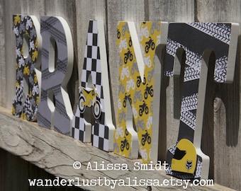 Dirtbike Letters, Baby Nursery - Custom Nursery Wooden Letters, 9 inch size (grey, gray, yellow, black, dirt bike, motocross)