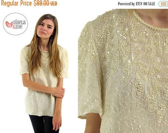 On Sale - Vintage 70s / 80s Beaded Silk Top Sequins Pearls Beads Disco Blouse / sm md