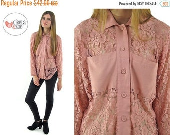 On Sale - Vintage 90s Dusty Pink Lace Top ΔΔ Button Up Lace Top ΔΔ sm / md
