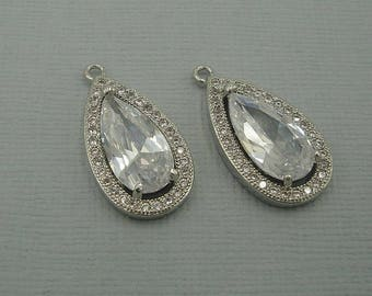 Clear Teardrop  Cubic Zirconia CZ Rhodium Plated Pendant Charm Findings Jewelry Supply.