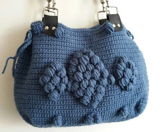 Crochet Bag // Handmade  Denim Blue Crochet Bag, Celebrity Style,Crochet winter  bag- shoulder bag- crochet bag-