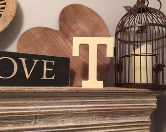 Hand-painted Wooden Letter T - Freestanding - Rockwell Font - Various sizes, finishes and colours