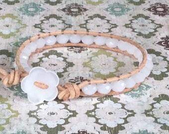 White Beaded Wrap Bracelet Layering Bracelet Single Wrap Bracelet Free Shipping Opal Chinese Crystal