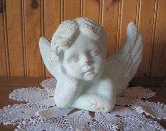 Sweet Cherub Bust - Shabby Chic Distressed Minty Green  - Gazing Angel Cement Figurine