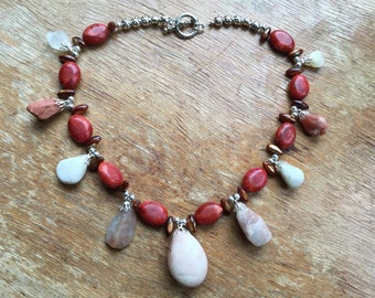 Red Bead Necklace with Beach Stones