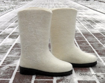 White Wedding Boots Felted Winter Wet Outdoor Women