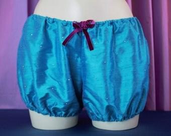 Adult Silk Bloomers, showgirl costume, burlesque underwear, swarovski crystal elements, bridal lingerie, modest underwear