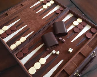 Vintage Travel Backgammon Set 1970s Classic Green Corduroy Suitcase Style Case Retro Game Night Man Cave Game Room Decor