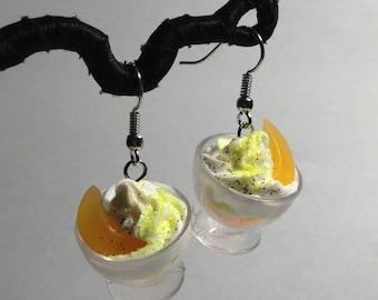 Melon parfait rhinestone earrings kawaii 80's kitchy toy earrings