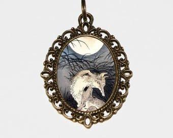 Moon Necklace, Fox Jewelry, Ukiyo-e, Woodblock, Tsukioka Yoshitoshi, Kitsune, Bronze Oval Pendant, The Moon On Musashi Plain