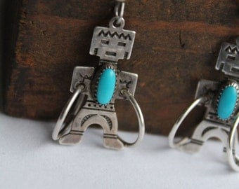 Zuni Sterling Silver with turquoise  Handmade Native American Earrings