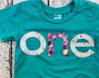 Girl's birthday shirt, gold, pink, teal Girls Birthday Tee, one shirt customize any birthday Organic Blend first birthday tee personalized