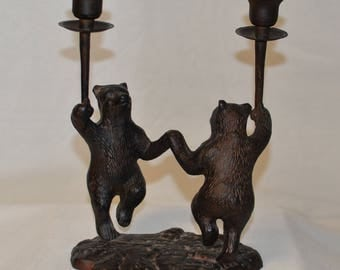 Whimsical Dancing Bear Bronze Candelabra taper candlesticks Rustin Cabin Decor Table Decoration woodsy brown bear forest bear statue