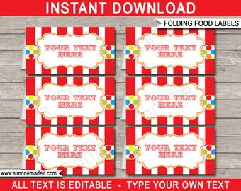 Carnival Food Labels - Circus Food Labels - Carnival Theme Party - Printable Party Decorations - INSTANT DOWNLOAD with EDITABLE text
