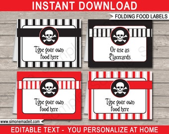 Pirate Food Labels - Pirate Theme Party - Food Buffet Tags - Placecards - Tent Cards - Party Decorations - INSTANT DOWNLOAD - EDITABLE text