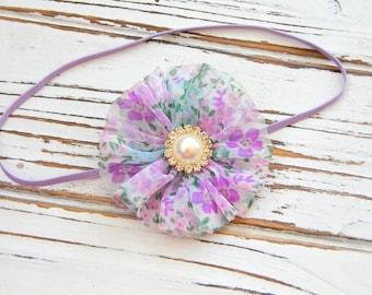 Lavender Chiffon Flower Headband - Girls Lavender Headband - Lavender Flower Headband - Lavender Baby Headband