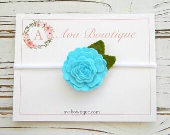 Turquoise Flower Headband - Turquoise Baby Headband - Baby Flower Headband - Felt Flower Headband