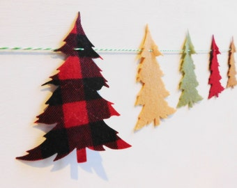 Plaid and Felt Christmas Tree Banner Garland