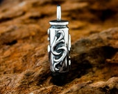 Handmade Solid Sterling 925 Silver Fleur Anchor Bullet Pendant. Based on a Magnum 44 Cartridge.