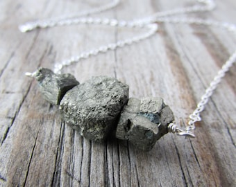 Raw Pyrite Necklace, unpolished nuggets of pyrite, bar necklace, swing necklace