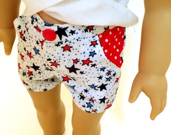 Red-white-blue stars pocket shorts for 18 inch dolls