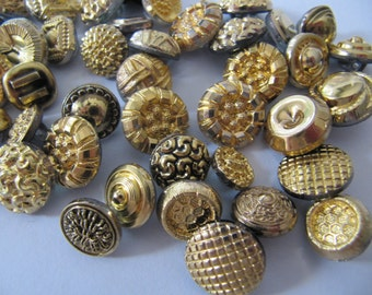 50 German glass buttons, metal like small glass buttons, 9 mm to 14 mm round & square, vintage 1950's gold bronze brass self shanking button