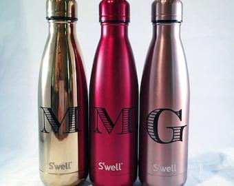 Personalized S'well Bottle - Initial Swell Bottle - Christmas, Groom, Groomsmen, Bride, Bridesmaid, Custom Swell