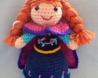 Made to order, Hand crocheted Large Like Frozen Anna Doll with cape Amigurumi Doll