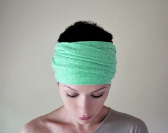 MINT CHIPS Head Scarf - Vibrant Hair Wrap - Mint Green Jersey Head Covering - Extra Wide Jersey Headband - Womens Hair Accessories