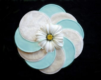 Nursing pads - AQUA - Organic Bamboo Velour and PUL - Ready to ship