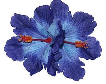 Double Blue Hibiscus Tiki Hair Flower