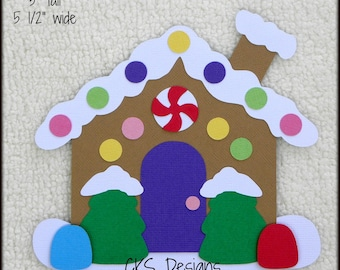 Die Cut Christmas Gingerbread House Premade Paper Piecing Embellishment for Card Making Scrapbook or Paper Crafts