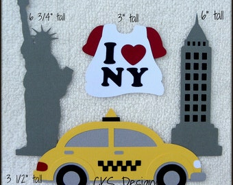 Die Cut NEW YORK Taxi Statue of Liberty Scrapbook Page Embellishments for Card Making Scrapbook or Paper Crafts