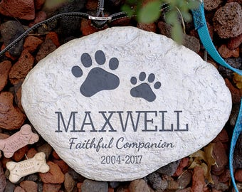 Personalized Pet Memorial Garden Stone, pet grave marker, garden stone, paw print, cremated, keepsake, memorial, engraved -gfyL1125414