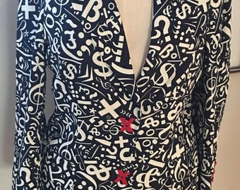 SPRING CLEANING SALE Vintage Moschino Cheap and Chic Moschino Black and White Symbols Sign Jacket Blazer
