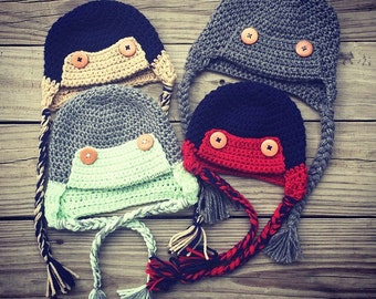 Baby Toddler Boy Girl Crochet Earflap TRAPPER Hat with Braids and Buttons ~ Sizes: Newborn to 2 yrs ~ You Pick Colors ~ Cute Winter Hat