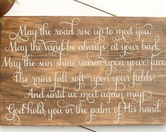 Irish Wood Sign - Wedding Sign - Irish Blessing Sign - Irish Wedding Gift - Irish Blessing - May the Road Rise up to Meet You