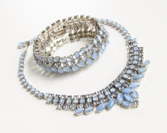 Vintage Joseph Warner Blue Glass Moonstone Rhinestone Necklace Bracelet signed 1960s Mid Century
