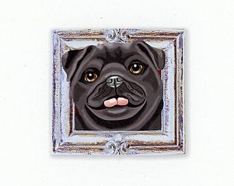 Pug Tiny Art Print - Black and Silver - Dog Art Print - Tiny Black Pug in a Frame