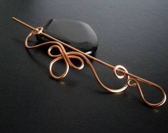 Celtic Shawl Pin, Copper pin, Scarf Pin, Sweater Brooch, Hair Pin, Knitting Accessories, Wire pin