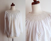 Vintage White Peasant Blouse - 1970's  Embroidered Blouse  - Size XS