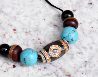 Antique Tibetan Agate Heaven and Earth Dzi Bead Choker Necklace with Antique Agate and Turquoise Beads by NeoWare