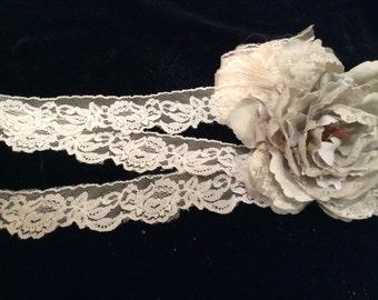 Vintage Light Ivory Nylon  Lace, Vintage Lace, Vintage Craft Supplies, Vintage Lingerie Lace, Vintage Bridal Lace, Vintage Wedding Lace