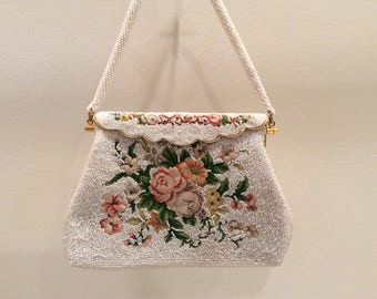 Vintage Bridal Wedding White/ Ivory Bead and Floral Pettipoint Gold Hinged Purse, Vintage Beaded Bag